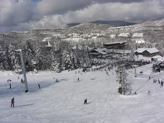 Mount Snow condo photo - Great skiing and riding at Mount Snow. The condo is visible in the background.