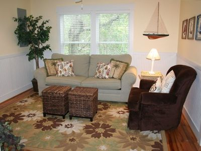 Second living area with pull out queen sleeper sofa