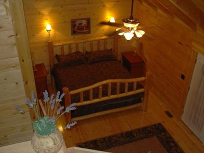 Hand-crafted short-leaf pine King Log Beds in each bedroom !