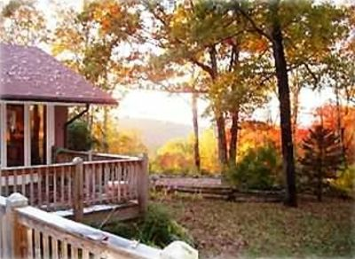 Enjoy the view of mountain foliage from your large deck