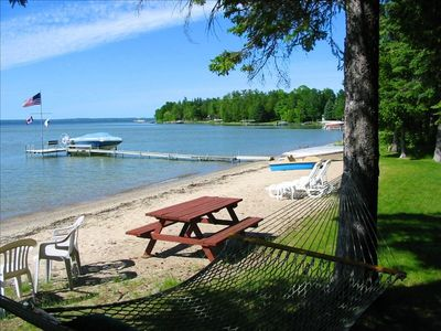 Burt Lake cottage rental - Safe sandy beach on Burt Lake