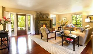 Healdsburg estate photo - Living room, fireplace and views all day long accompanied by total serenity.
