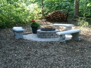 New Buffalo cottage photo - Stone Firepit in Back Yard with Plenty of Firewood to Burn