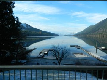 Lake Cowichan house rental - View from veranda in front of recreation and dining area and kitchen