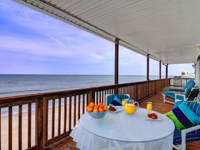 Expansive oceanfront balcony is great for entertaining and enjoying the views