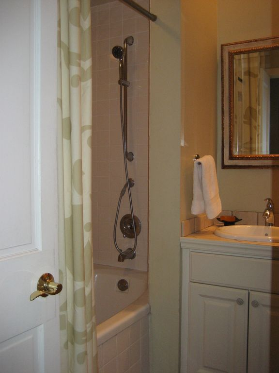 Bathroom with Deep Soaking Tub and Shower