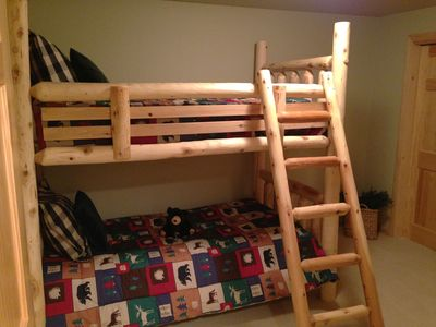Lower level bunk beds in bonus room