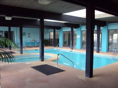 Relax in the indoor pool and hot tub during your vacation at Bluewater!!