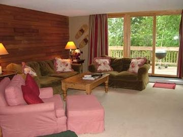 Family room with deck and wood burning stove