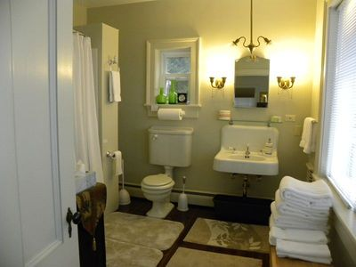 Bar Harbor estate rental - Master ensuite bath, w/tub/shower, lots of hot water, & views of the oceanfront!