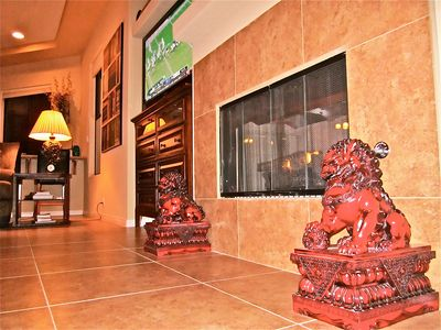 Cathedral City house rental - Two Chinese Lions Protect The Hearth and Legend says Bring Good Luck!