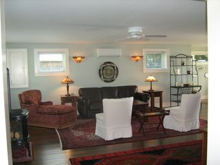 Skaneateles Lake, Skaneateles cottage photo - Living room with free-standing gas fire stove.
