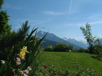 Our garden with panoramic view to Stubai Valley
