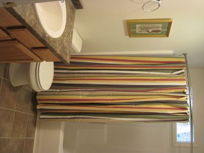 Bar Harbor house rental - first floor bathroom. Both bathrooms are full baths