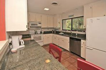 View of the kitchen with modern appliances and granite counter tops