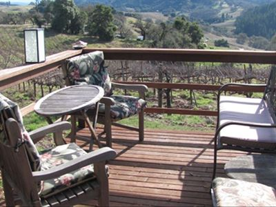 Guest's private vineyard deck overlooking vineyard and views from south to west.
