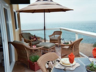 Ocean views surround the generous deck