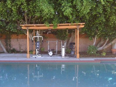 Work out by the pool on our gym equipment