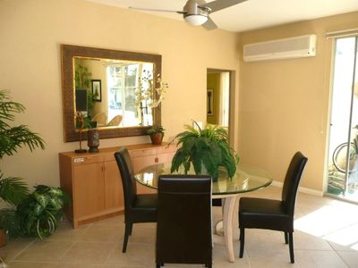 Living Room & Dining area have their own access to the large tiled patio.