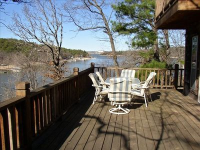 View of grand lake and shangri la from the deck for Grand lake oklahoma cabin rentals