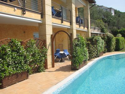 Modern holiday complex on Lake Garda with swimming pool and stunning views over the lake