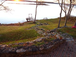 Westport Island house photo - stone walkway to water, dock and pier
