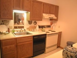 Pittsfield condo photo - Kitchen is well-equipped for cooking in or heating up take-out!