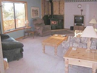 Stateline house photo - Enjoy a Fire in the Wood Stove - TV Has Been Replaced with Large HDTV