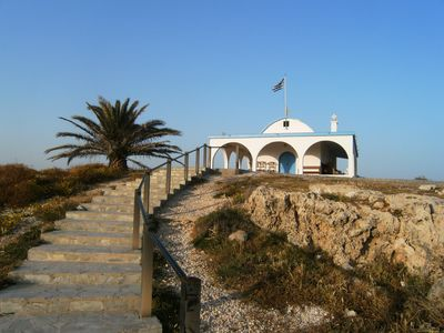 Church at Ayia Thekla beach near Villa Nishita