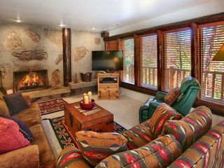 Sundance cabin photo - family room with fireplace