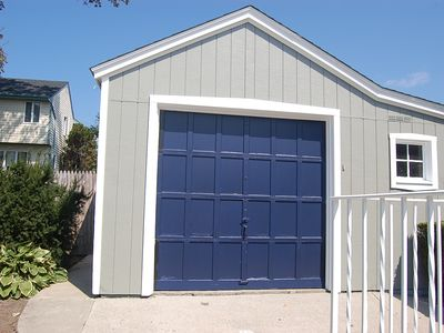 detached garage with storage for beach chairs, tents, etc.