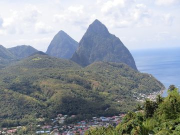 SOUFRIERE WITH THE PITONS ON THE BACKGROUND