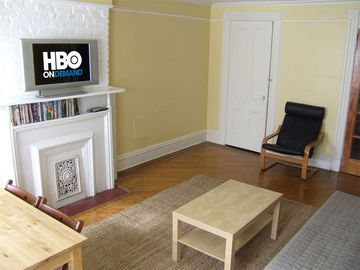 Living Room: 30 in. HDTV w/ HBO on Demand; DVD library; closet...