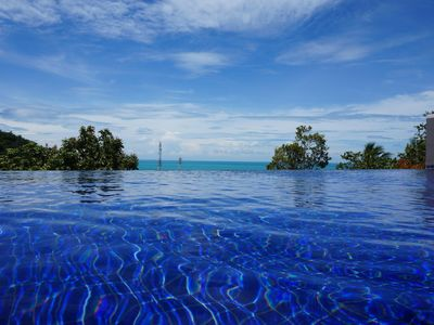 Infinite pool, sea and sky