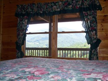 Maggie Valley cabin rental - Master bedroom Great View From the King size bed