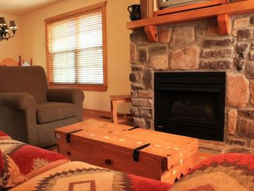 Relax in front of the gas fireplace.