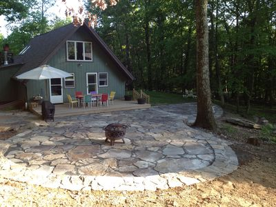 Woodstock chalet rental - View of the back of the house from above, BBQ and fire pit