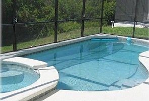 Heated pool and spa overlooking conservation area