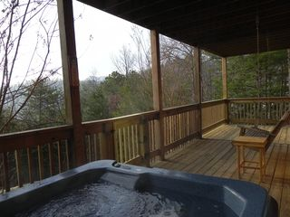Wears Valley cabin photo - Lower deck, hot tub and swing