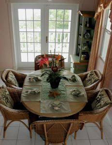 Ariel View of Dining Table  & French Doors