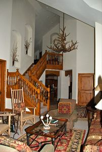 Staircase and Elk Horn Chandelier