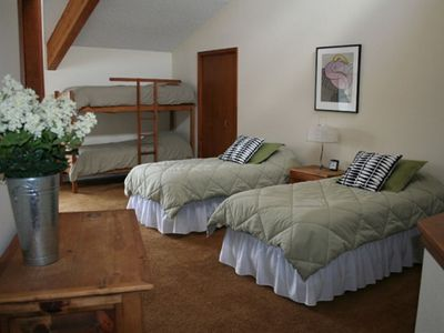 Upstair bedroom with private full bathroom, walkin closet, 2 twin beds, bunk bed