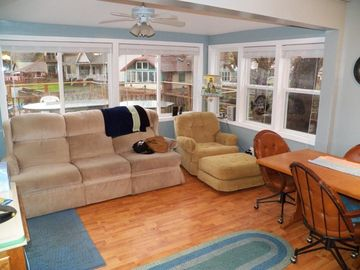 Ellicottville cottage rental - Our living room ad the views of the water.