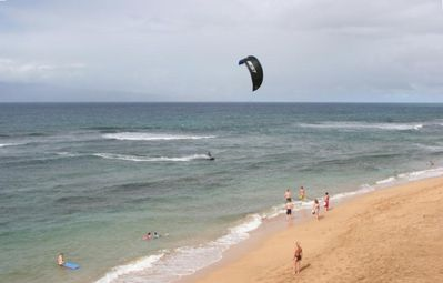 View of beach activities from the lanai.