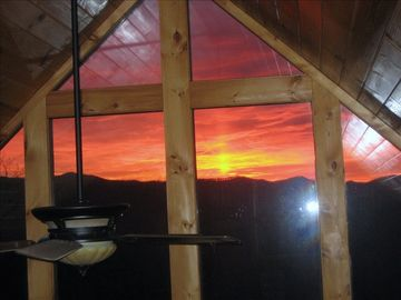 Bryson City cabin rental - My favorite photo. Sipping coffee, watching the sunrise