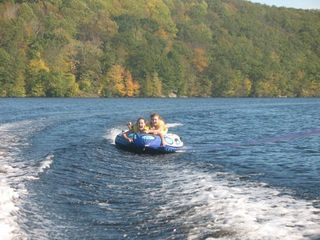 Oakdale cottage photo - Tubing on the lake ( Columbus Day )