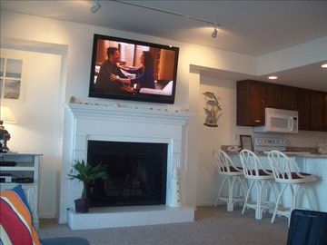 "North Wildwood condo rental - Living Room with hifi and 47""hdtv in this oceanfront condo with a private deck."