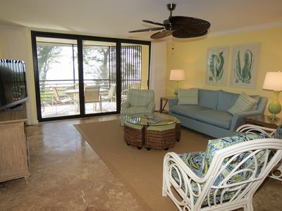 Sanibel Island condo rental - Living area with HD cable, DVD player, and gulf view