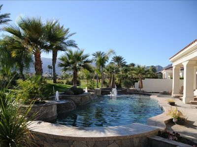 Pool with gorgeous view of golf course. Huge covered patio with speaker system