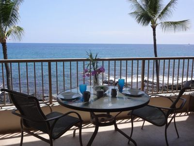 Breakfast on the lanai. Look carefully and you may see a school of dolphins!